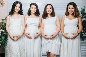 4 chị em ruột cùng mang bầu rủ nhau chụp hình kỷ niệm gây 'bão' mạng