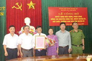 Bổ nhiệm Trưởng ban Dân vận và Chủ tịch Ủy ban MTTQ huyện Anh Sơn