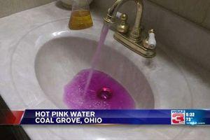 CLIP: Người dân hốt hoảng khi nước sinh hoạt chuyển sang màu hồng