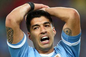 Luis Suarez đòi penalty vì lỗi bóng chạm tay thủ môn
