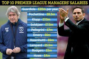Top 10 HLV hưởng lương cao nhất Premier League: Guardiola gấp 4 lần Lampard