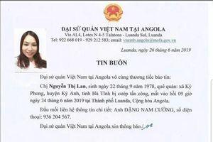 Một nữ lao động bị cướp sát hại tại Angola