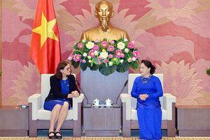 Chủ tịch QH Nguyễn Thị Kim Ngân tiếp Cao ủy phụ trách thương mại của Liên hiệp châu Âu X. Mam-xtrom