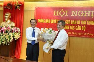 Ban Bí thư chỉ định ông Trần Tiến Hưng làm Phó Bí thư tỉnh ủy Hà Tĩnh