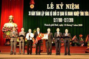 Đảng bộ Khối Cơ quan và Doanh nghiệp tỉnh Thừa Thiên -Huế đón nhận Huân chương Lao động hạng Nhất