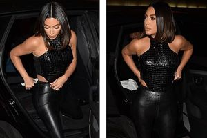 Kim Kardashian trang điểm cầu kỳ gợi cảm khi đi dự tiệc cùng ông xã