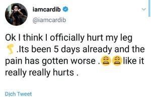 Người hâm mộ lo lắng khi Cardi B cho biết đôi chân của cô đang phải chịu di chứng nặng nề từ việc phẫu thuật thẩm mỹ
