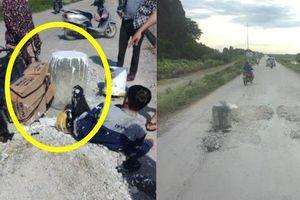 Trụ bê tông 'mọc' giữa đường khiến xe máy không kịp tránh, gây nên tai nạn bất ngờ