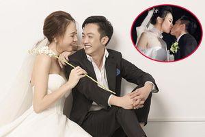 Đàm Thu Trang khóa môi Cường Đô La trong tiệc cưới