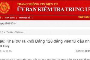 Cà Mau: Khai trừ 128 đảng viên vi phạm