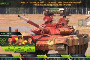 Đội Việt Nam thi đấu bán kết Tank Biathlon tại Hội thao quân sự quốc tế