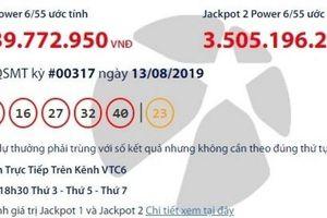 Kết quả xổ số Vietlott 13/8/2019: Giải khủng gần 44 tỷ đồng vào túi ai?