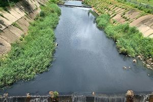 Tách rác thải trước khi nước chảy vào hố thu ở kênh Ba Bò