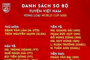 Danh sách triệu tập sơ bộ của ĐT Việt Nam chuẩn bị cho vòng loại World Cup 2022
