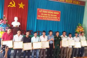 Tiền Giang: Tặng Bằng khen cho 9 ngư dân tàu cá TG 90983-TS