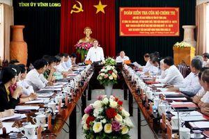 Đoàn kiểm tra của Bộ Chính trị làm việc với Ban Thường vụ Tỉnh ủy Vĩnh Long