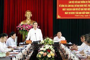 Đoàn kiểm tra của Bộ Chính trị kiểm tra việc thực hiện Nghị quyết 26/NQ-TW tại Vĩnh Long