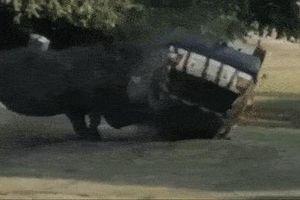 Tê giác khổng lồ húc bay ôtô như món đồ chơi