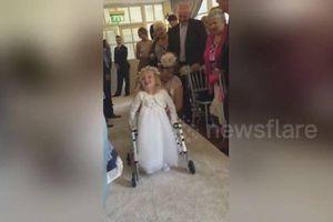 Xúc động khoảnh khắc bé 4 tuổi lần đầu bước đi trong đám cưới của mẹ