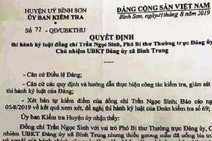 Quảng Ngãi: Phó Bí thư xã bị kỷ luật cảnh cáo vì 'thiếu chuẩn mực'