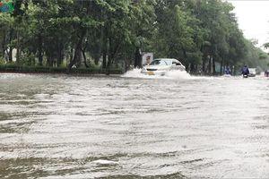 Nhiều tuyến đường ngập sâu, xe cộ 'bơi' ngay giữa thành phố Vinh
