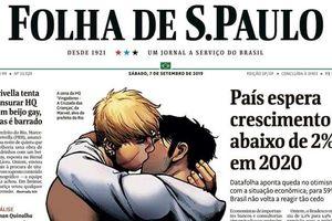 Báo Brazil đăng hình nụ hôn đồng tính để chỉ trích thị trưởng