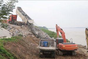 Phú Thọ: Gấp rút xử lý sạt lở đê tả sông Thao uy hiếp công trình trạm bơm