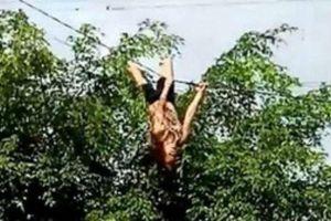 Thót tim cảnh cô gái nhào lộn trên... dây điện