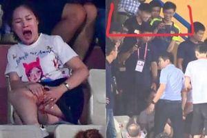 Nữ khán giả bị CĐV Nam Định bắn pháo rách đùi, 2 thanh niên cười đùa quay video