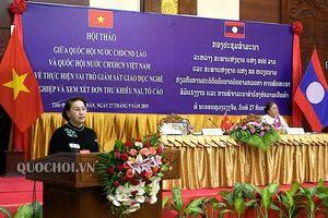 Chủ tịch Quốc hội Nguyễn Thị Kim Ngân và Chủ tịch Quốc hội lào đồng chủ trì Hội thảo chuyên đề chia sẻ kinh nghiệm Quốc hội việt nam - Lào