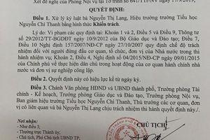 Hiệu trưởng trường tiểu học Nguyễn Chí Thanh bị kỷ luật khiển trách