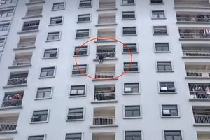 Giải cứu người phụ nữ 'treo lủng lẳng' ở tầng 10 chung cư