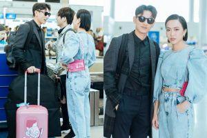 Isaac vẫn chuẩn men khi kéo vali màu hồng đi LHP Busan