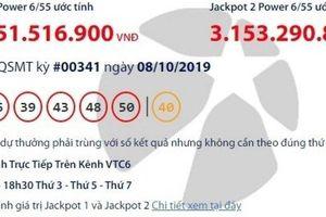 Kết quả xổ số Vietlott 8/10/2019: Gần 33 tỷ đồng vào túi ai?
