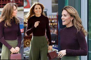 Chỉ một chiếc áo thun đỏ Burgundy, công nương Kate đã chinh phục hàng triệu ánh nhìn khắp thế giới