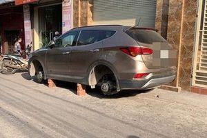 Để xe qua đêm ngay trước cửa nhà, xế hộp đắt tiền bị kẻ gian tháo trộm hết 4 bánh