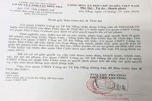 Công an Đà Nẵng chỉ đạo phục hồi điều tra vụ báo GDTĐ tố cán bộ tham ô