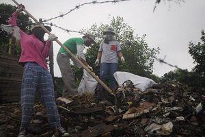 Người nước ngoài tham gia dọn rác tại cầu Long Biên