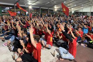 Cổ động viên vui mừng với chiến thắng của ĐT Việt Nam trước Indonesia