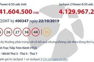 Kết quả xổ số Vietlott 22/10/2019: Số phận hơn 41 tỷ đồng tối nay ra sao?
