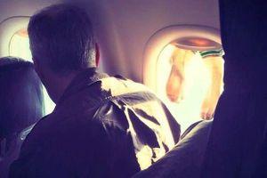 Vị khách vô duyên hồn nhiên phơi tất bốc mùi trên cửa sổ máy bay