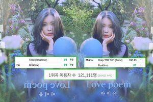 Sức hút từ IU: 'Love Poem' càn quét kỉ lục All-Kill lẫn lượt nghe độc nhất trên Melon với thời gian ấn tượng