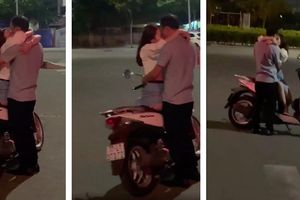 Cặp đôi vô tư dừng xe giữa đường ôm hôn ngấu nghiến