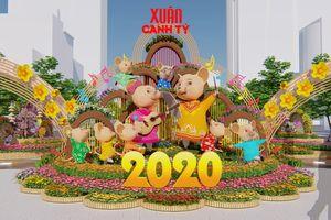 Tạo hình chuột cao 3 m trên đường hoa Nguyễn Huệ dịp Tết Nguyên Đán