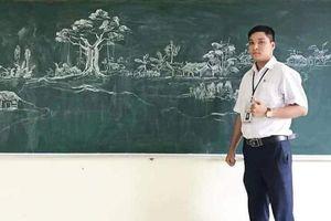 Thầy giáo vẽ tranh phong cảnh bằng phấn đẹp rụng rời, nhưng có 1 chi tiết khiến dân mạng xuýt xoa