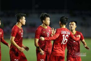 Video Thành Chung đánh đầu gỡ hòa 1-1 cho U22 Việt Nam