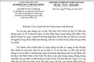 Đề nghị cải chính thông tin người thứ 5 trong vụ tai nạn thảm khốc ở Phú Yên tử vong