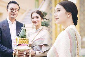 Gần ngày cưới, Mew Nittha diện trang phục truyền thống cùng vị hôn phu đến chùa xin phước lành từ nhà sư