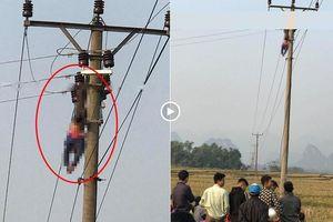 Trèo lên cột điện ngồi uống rượu, người đàn ông bị điện giật tử vong