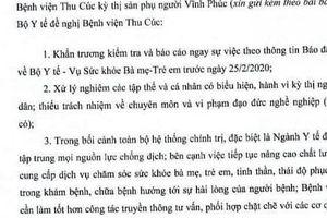 Bộ Y tế yêu cầu BV Thu Cúc báo cáo vụ việc kỳ thị sản phụ Vĩnh Phúc